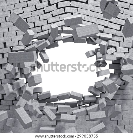 3d image concrete breaking wall - stock photo