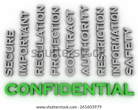 3d image confidential  issues concept word cloud background - stock photo