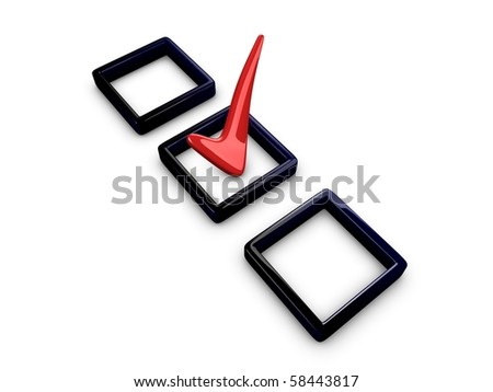 3d image, 3d tick box isolated over white background - stock photo