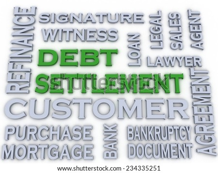 3d image Debt settlement  issues concept word cloud background - stock photo