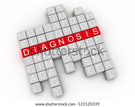 3d image Diagnosis issues concept word cloud background