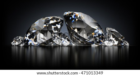 3d image. Diamonds on a black reflective background.