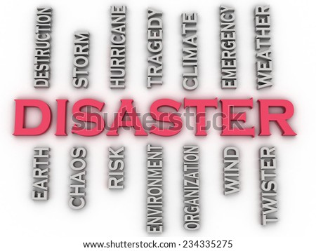 3d image Disaster  issues concept word cloud background - stock photo