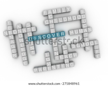 3d image Discover  issues concept word cloud background - stock photo
