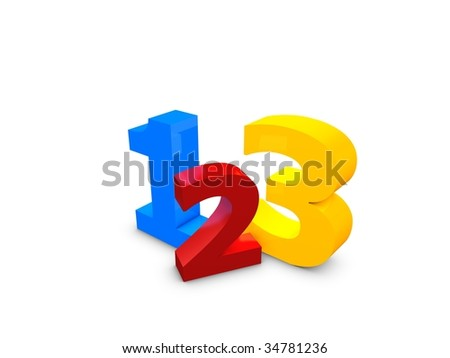3d image, 123 easy simple step over white background