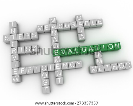 3d image Evaluation   issues concept word cloud background - stock photo