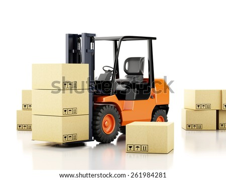 3d image. Forklift truck with cardboard  boxes. Isolated white background - stock photo