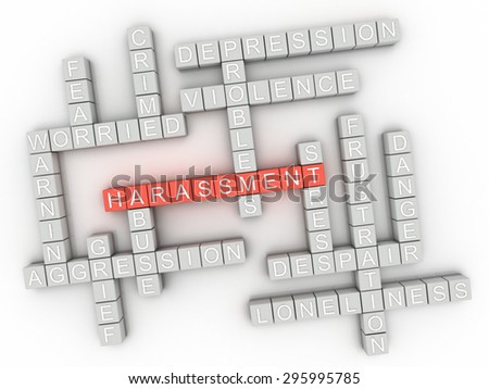 3d image Harassment issues concept word cloud background - stock photo