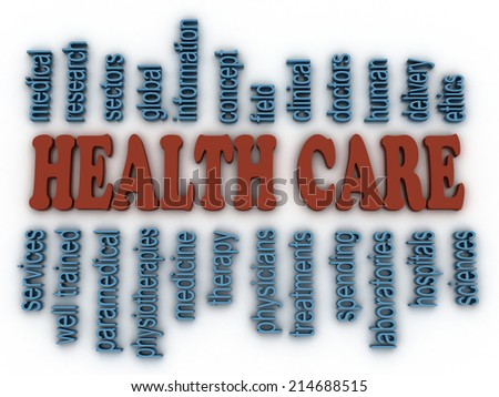 3d image Health Care concept word cloud background - stock photo