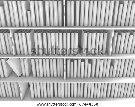 3d image huge library book rack, isolated on white background. - stock photo