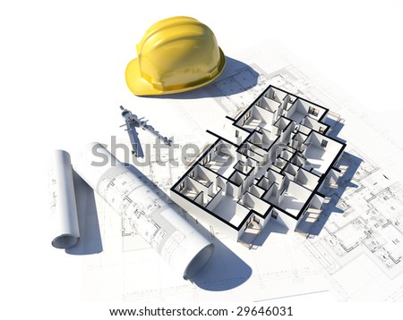 3D image if a floor plan and some blueprint and a helmet - stock photo