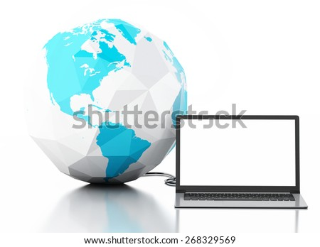 3d image. Laptop and earth globe. Global communication concept. Isolated on white background - stock photo