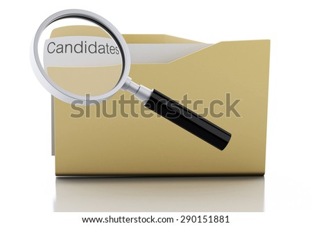 3d image. Magnifying glass examine Candidates in folder. Search Documents Concept. Isolated white background - stock photo