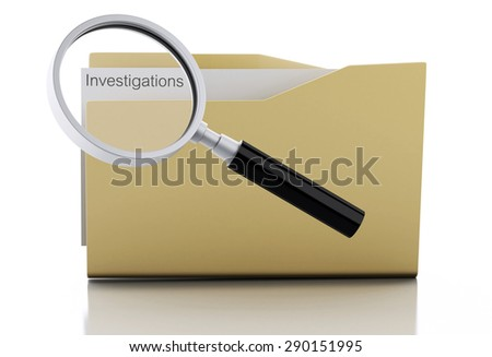 3d image. Magnifying glass examine investigations in folder. Search Documents Concept. Isolated white background - stock photo