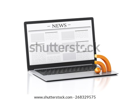 3d image. Modern laptop with news and RSS symbol. Internet, Media concept on white background