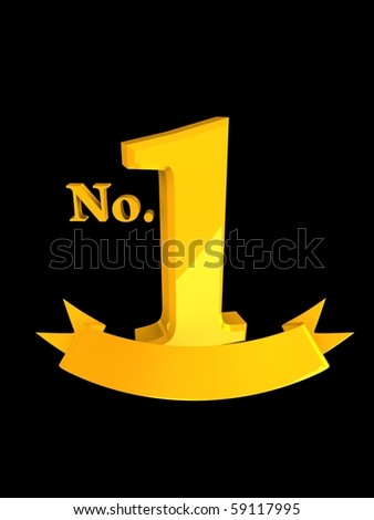 3d image, no,1 gold badge. isolated over black background - stock photo