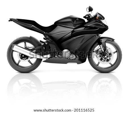 3D Image of a Black Modern Motorbike - stock photo