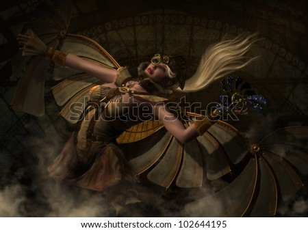 3D image of a blond haired female aviator with wings getting ready to launch a winged Steam Punk creature into the air as if in flight. - stock photo