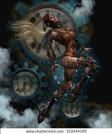3D image of a blond haired women voyager dressed in Steam punk aviator outfit.  Clocks and gear Steam Punk background.