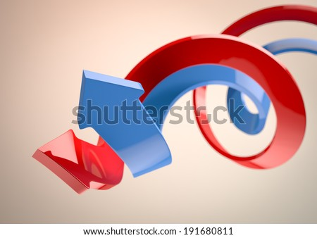 3d image of a blue and red arrows - stock photo