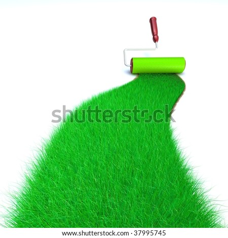 3d image of a brush painting a wall with green grass