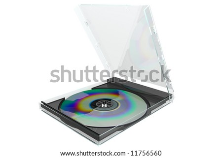 3D image of a dvd with case ,isolated on a white background