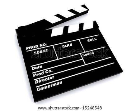 3D Image of a film clapper board - stock photo