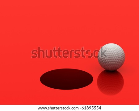 3d image of a golf ball standing close to the hole ready to be put.