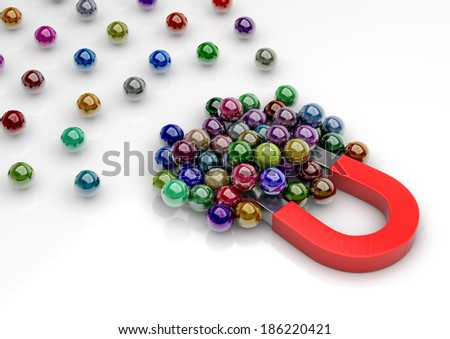 3d image of a magnet attracting marbles.(Concept of competition) - stock photo