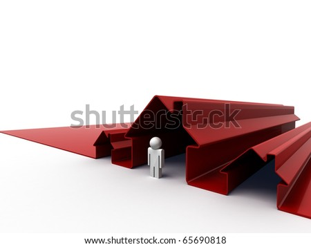 3d image of a man standing in front of his house