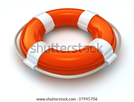 3d image of a orange and white lifebelt isolated on white with clipping path - stock photo