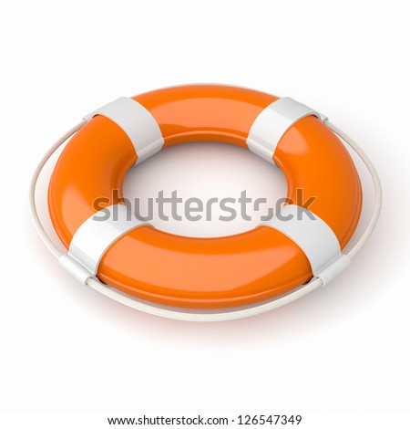 3d image of a orange and white lifebuoy isolated on white