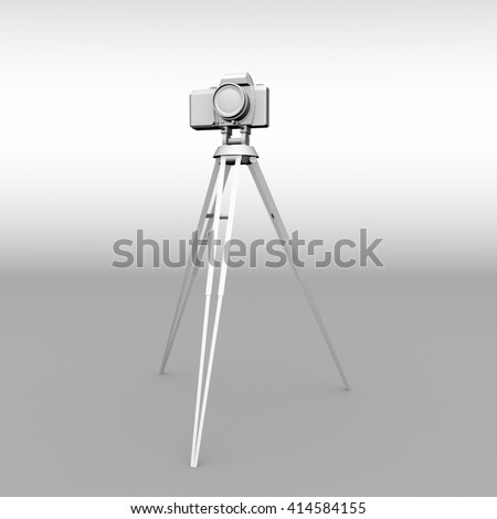 3D image of a photo camera on a tripod