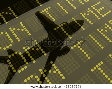3D Image of a plane reflected on the glass of an airport arrivals and departures message board.