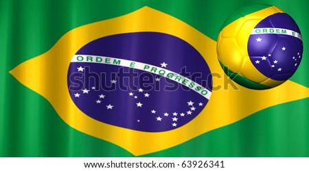 3D image of a soccer ball and Brazilian flag.