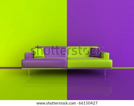 3d image of an unusual contasting sofa/wall/floor, in Purple and Green