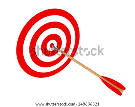 3D image of arrow and target on white backround. - stock photo