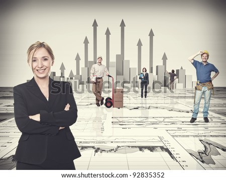3d image of arrows and finance chart with worker - stock photo