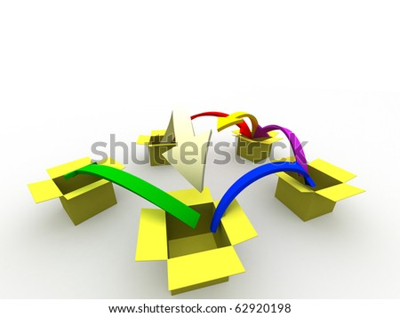 3d image of arrows jumping from box to box - stock photo
