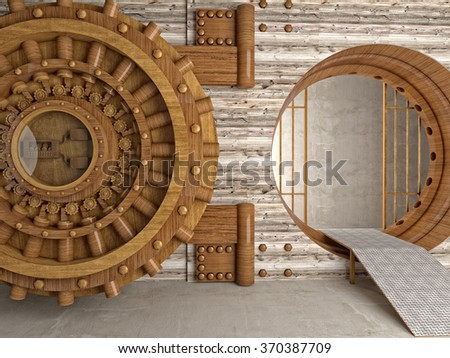 3d image of bank vault make with hardwood - stock photo
