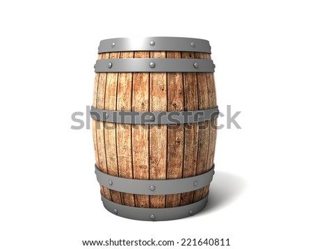 3D image of barrel on white background. - stock photo