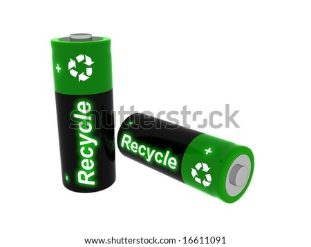 3D Image of batteries with  the word recycle on their labels. - stock photo