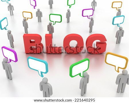 3D image of blog concept on white background.
