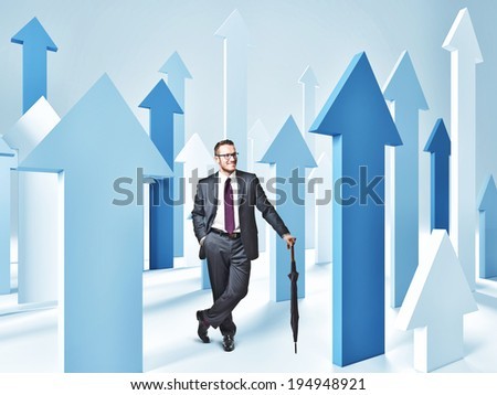 3d image of blue arrows and businessman - stock photo