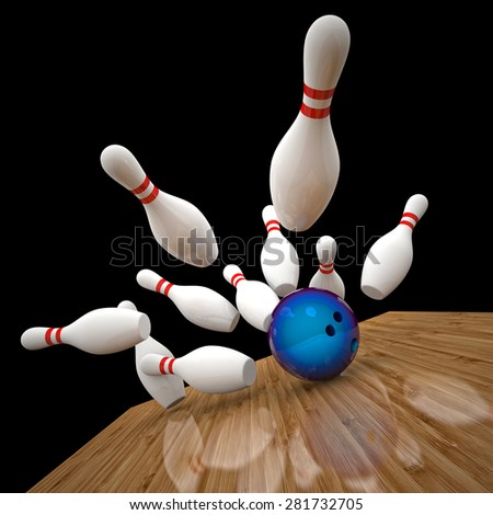3d image of bowling ball and skittle - stock photo