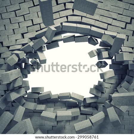 3d image of breaking concrete wall - stock photo