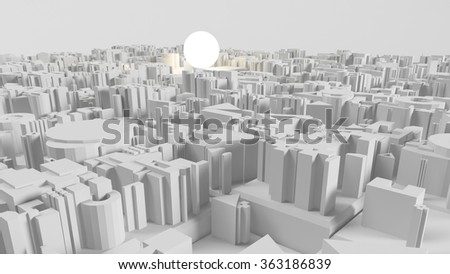 3d image of bright light bulb and city, green energy concept - stock photo
