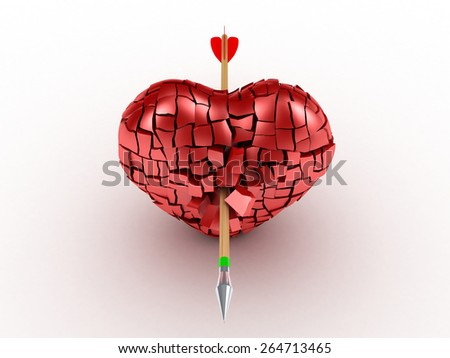 3D image of broken heart with arrow on white background - stock photo