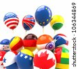 3d image of bunch of balloon with different country flag - stock photo