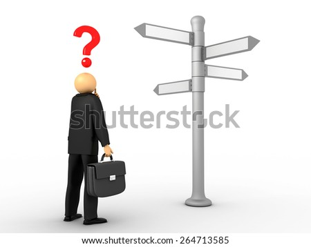 3D image of businessman deciding his path. - stock photo